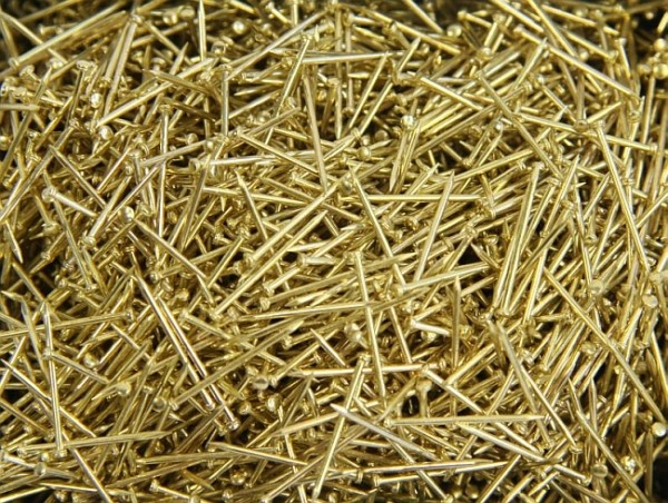 Pailletten-Nadeln, Gold, 1 cm, Köpfchen: 1,3 mm