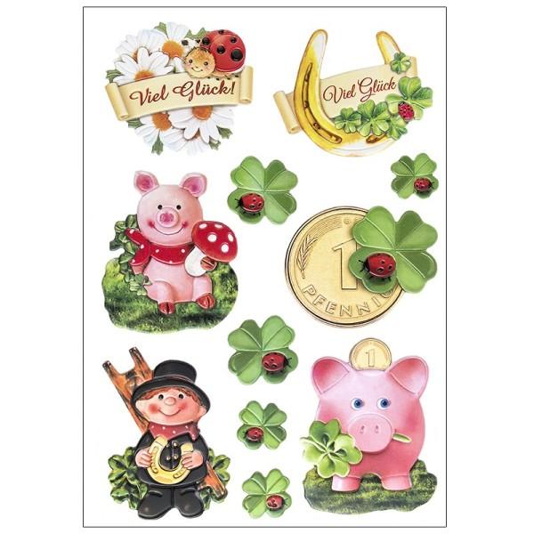 3-D Relief-Sticker, Glücksbringer, verschiedene Größen, selbstklebend