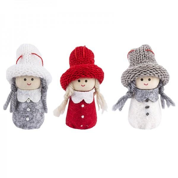 """Winter-Püppchen, Design 18 """"Susi"""", 6cm hoch, 3 Stück"""