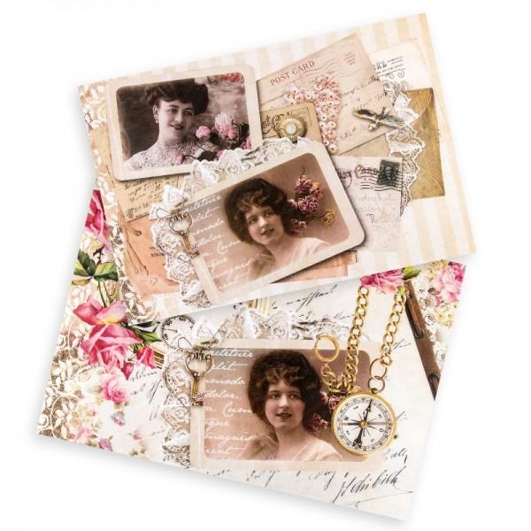 "Reispapiere ""Vintage 8"", DIN A4, 2 Designs"