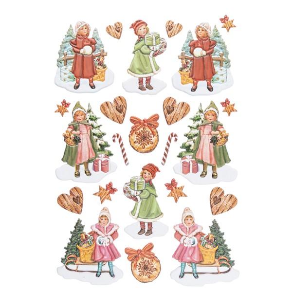 3-D Relief-Sticker, Winterkinder 1, versch. Größen, selbstklebend