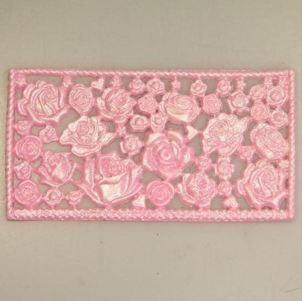 Wachsornament-Platte Rosen, ca. 16cm x 8cm, Altrosé mit Glimmer