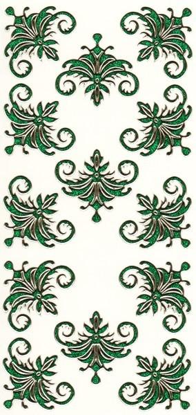 Microglitter-Sticker, Schnörkelornament 1, grün