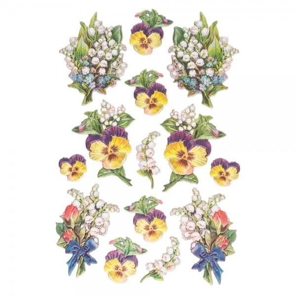 3-D Relief-Sticker, Zauberhafte Maiglöckchen 4, 21cm x 30cm, verschiedene Größen, selbstklebend