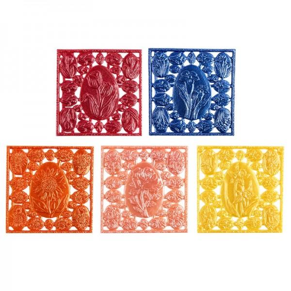 Wachsornament-Platten Ostereier, 7cm x 7cm, 10 Stück