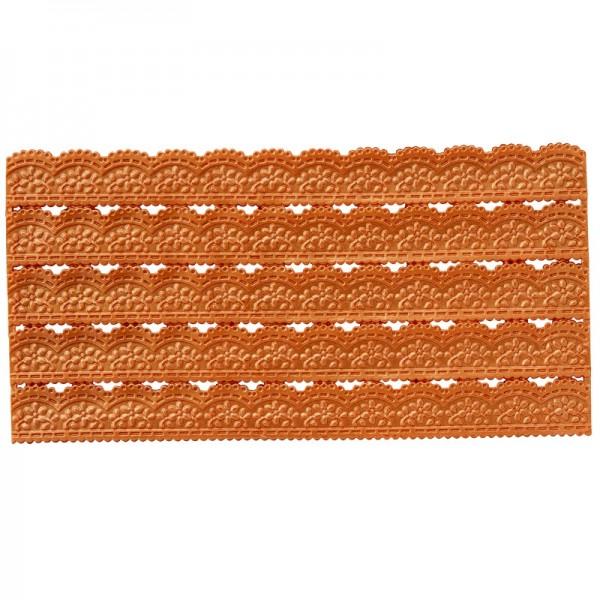 Wachs-Bordüren auf Platte, Spitze, geprägt, orange, 20cm, 5 Stück