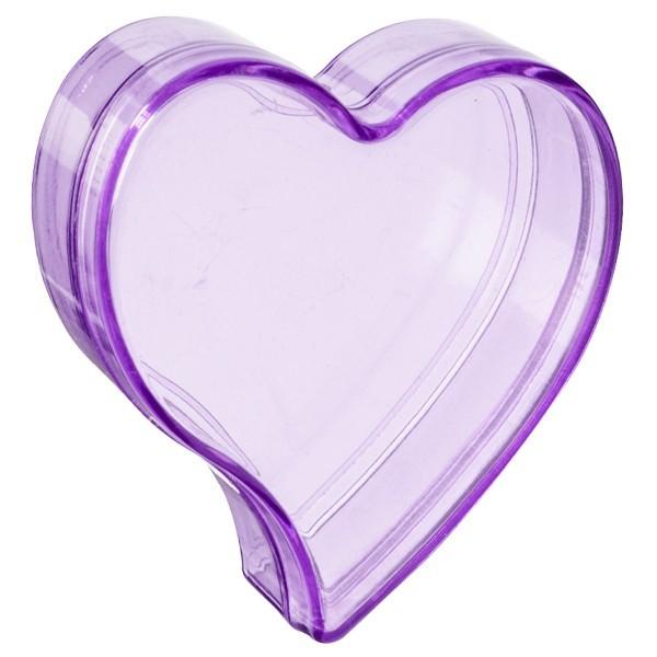 Acryl-Herz-Dosen, 6,4 x 6 x 2,5 cm, 2 Stück, violett