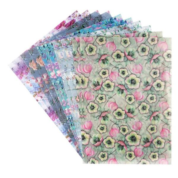Motiv-Transparentpapiere Deluxe, Blumen 1, DIN A4, 150g/m², verschiedene Designs, geprägt, 10 Bogen