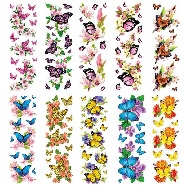 Transparent-Sticker, Schmetterlinge auf Zweigen, 10cm x 30cm, 10 Bogen