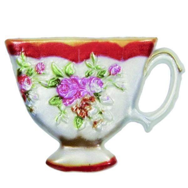 Wachsornament Tasse mit Blumenzierde, 4,5 x 6 cm, Design 4