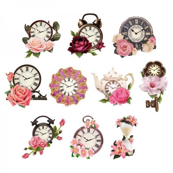 Relief-Bilder, Uhren, geprägt, 5-9 cm, 10er Set