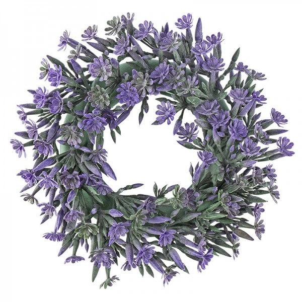 Deko-Kranz, Design 3, innen: Ø 9,5cm, außen: Ø 23cm, mit violetten Blüten und Knospen