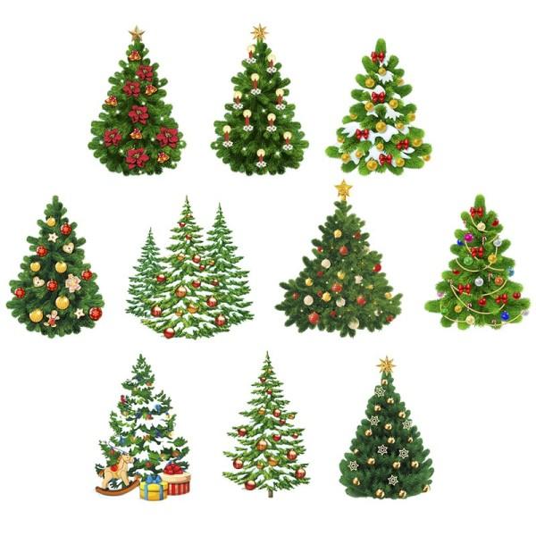 3-D Motive, Weihnachtsbäume, 6-11cm, 10 Motive