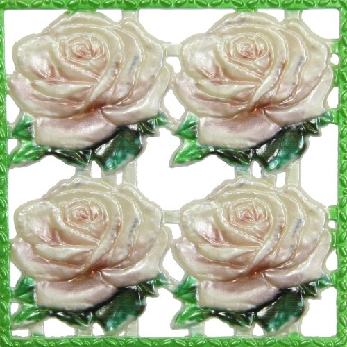 Wachsornament-Platte Rosen, farbig, geprägt, 10x10cm