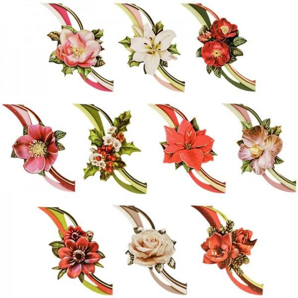 3-D Motive, Winterblüten mit Schwung, 8,5-10,5cm, 10 Motive