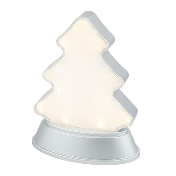 LED-Relaxleuchte, Tannenbaum, 14,5cm x 12cm, Diamant-Lichteffekt-Folie, 13 LEDs, warmweiß, silber