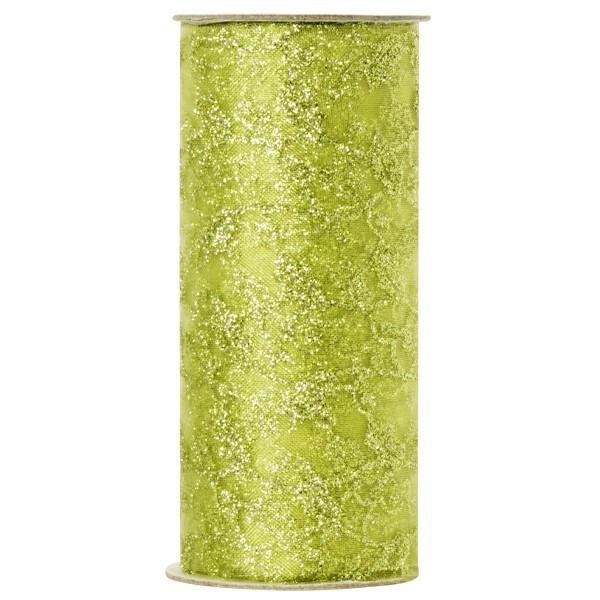 Deko-Tüll mit Glimmer-Blatt-Design 1, 12cm x 5m, grün