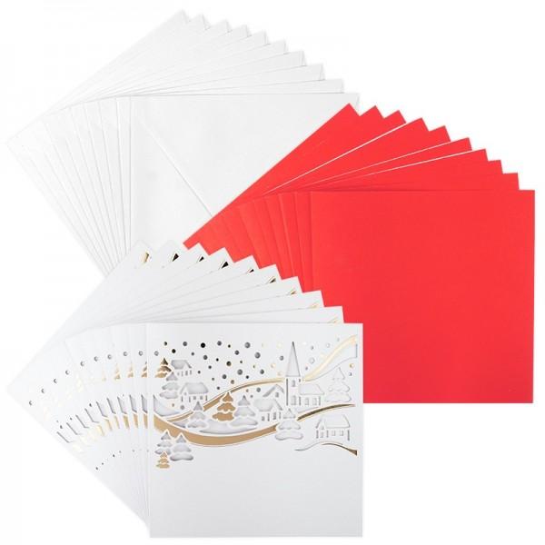 Deluxe-Laser-Grußkarten, Winterlandschaft, 16cm x 16cm, inkl. Einleger & Umschläge, 10 Stück