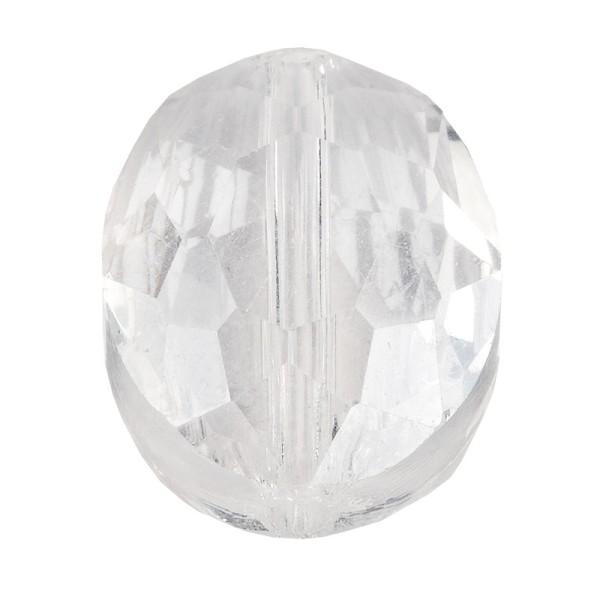 Perlen, oval, flach, 0,9cm x 1,2cm, facettiert, transparent, klar, irisierend, 25 Stück