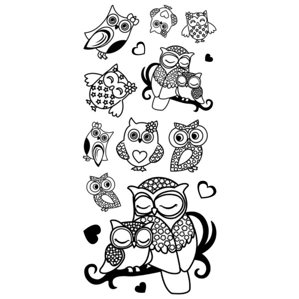 Feinkontur-Stempel, einzelne Motive auf Trägerfolie, Eulen