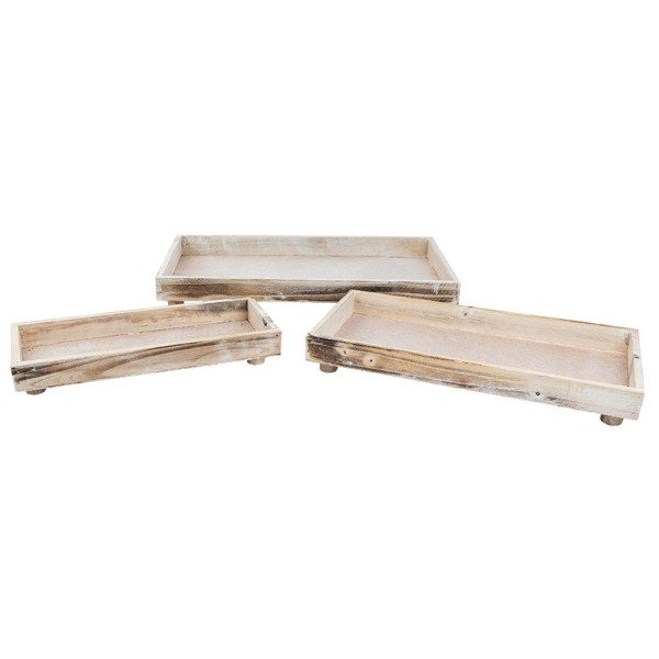 Tabletts aus Holz, verschiedene Größen, creme antik, 3 Stück