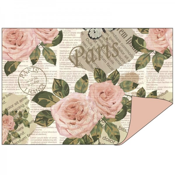 Faltpapiere Duo-Design 12, 10cm x 15cm, Rosen/rosenholz, 50 Stück