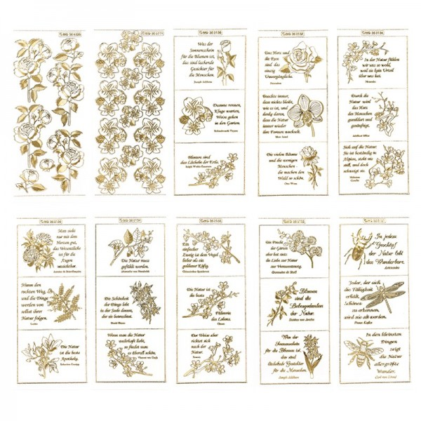 Gravur-Sticker, Weisheit der Natur, transparent/gold, 10 Bogen