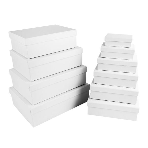 Geschenkboxen, rechteckig, verschiedene Größen, weiß, Rohlinge zum Weiterverzieren, 10 Stück