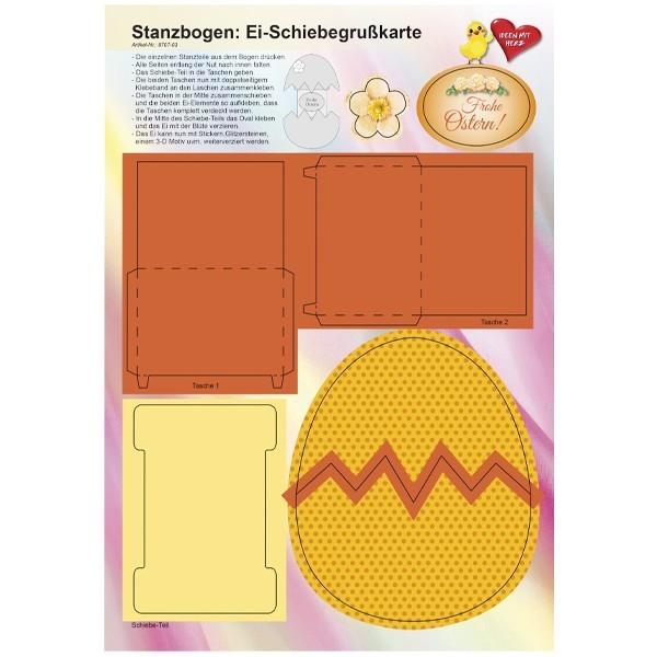 Stanzbogen, Ei-Schiebegrußkarte, DIN A4, Design 3