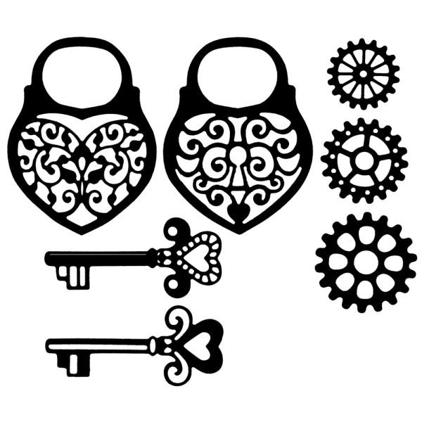 Stanzschablonen, Schlösser & Schlüssel, 7 Stück