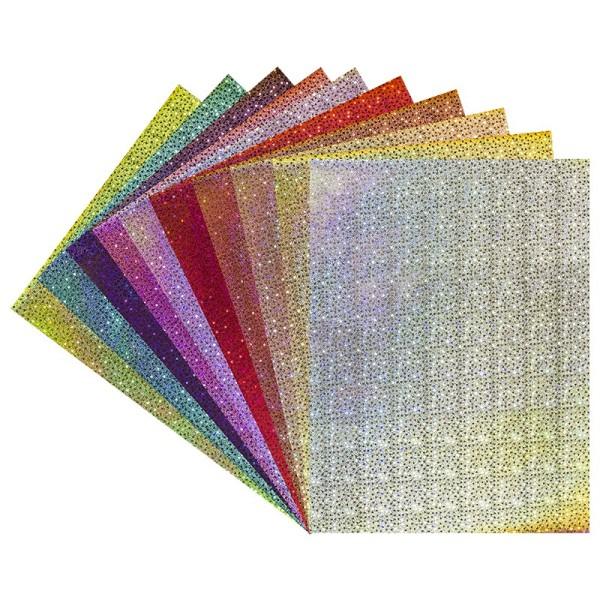 Effekt-Karton, Laserstars, DIN A4, 200 g/m², 10 verschiedene Farben, 20 Stück