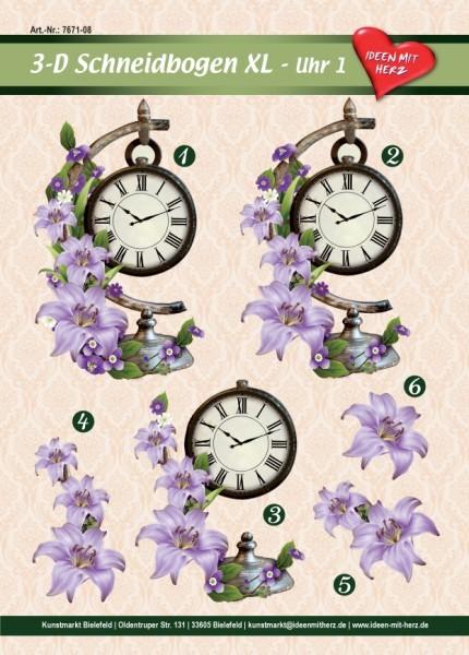 3-D Bogen XL-Uhr, Design 1, zum Ausschneiden