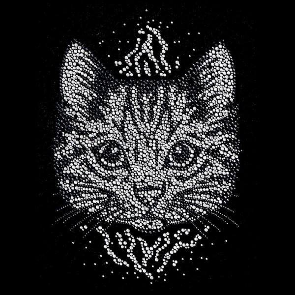 Bügelstrass-Design, DIN A4, mehrfarbig, Katze