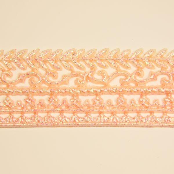 Wachs-Bordüren auf Platte, 5 Stk, 30 cm, lachs mit Glimmer