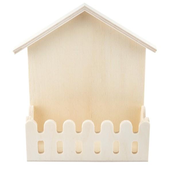 Haus mit Zaun, Holz, 13cm x 16cm x 5cm, zum Aufstellen