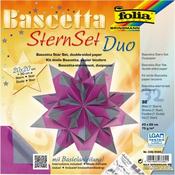 Bascetta Stern Set, DuoDesign, 20x20cm, 32 Blatt, violett/silber