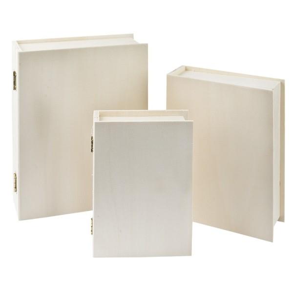 Aufbewahrungsboxen, Holz, Bücher, 3 verschiedene Größen, 3 Stück