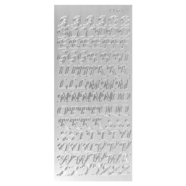 Sticker, Alphabet 2 Großbuchstaben, Spiegelfolie silber