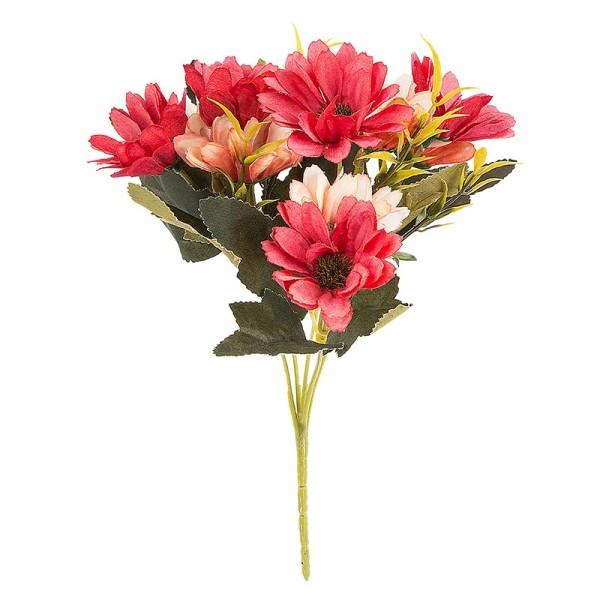 Blütenbusch, Margeriten, 28cm hoch, 10 große Blüten Ø 4cm, Rottöne