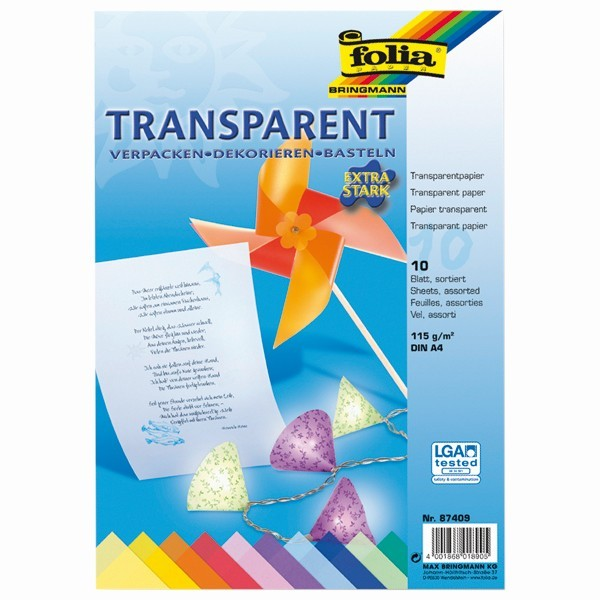 Transparentpapier, DIN A4, 115g/m², 10 Blatt, 10 Farben