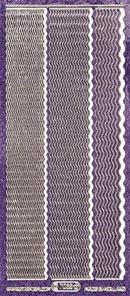 Microglitter-Sticker, Wellen-Linien, 3 Breiten, violett