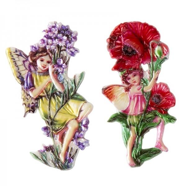 Wachsornamente, Elfen mit Blumen, 2 Stück