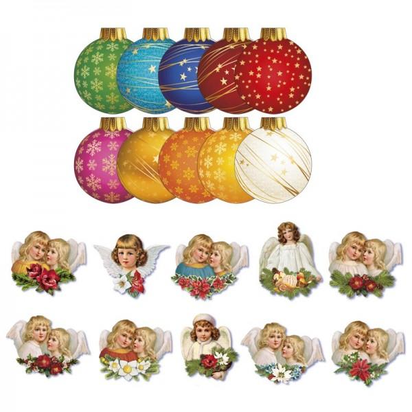 """3-D Grußkarten """"Weihnachtskugel"""", inkl. 3-D Motive """"Nostalgie-Engel"""" und Umschläge, 30-teilig"""