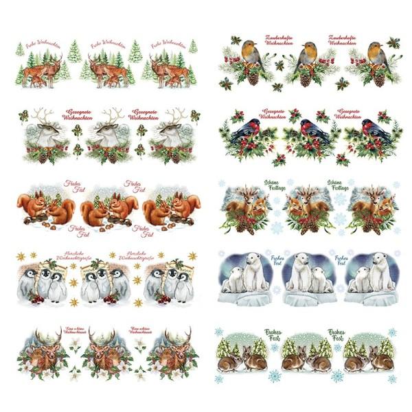 Transparent-Stickerbogen, Tiere im Winter, verschiedene Designs, 10cm x 30cm, 10 Bogen