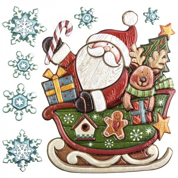 Relief-Sticker in Holzoptik, Weihnachtsmann mit Schlitten, 18cm x 17,5cm