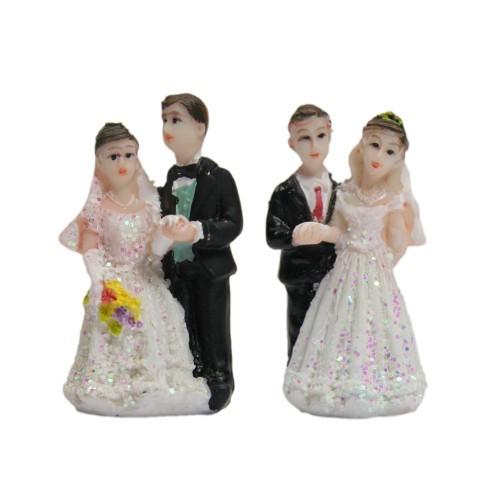 Deko-Hochzeitspaare, Steinharz, 2 Designs, 4,5 cm, 4 Stück