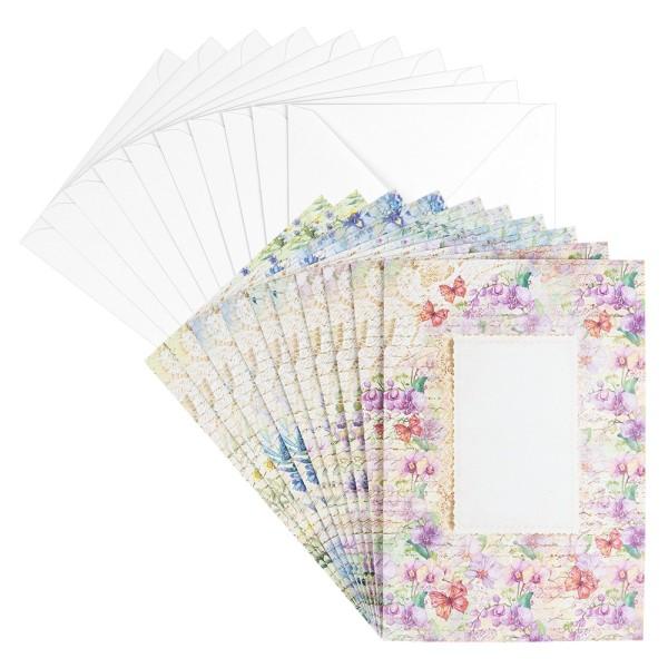 Motiv-Grußkarten, Blütentraum 3, B6, 230 g/m³, 5 versch. Designs, inkl. Umschlägen, 10 Stück