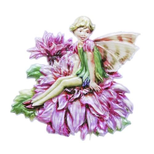 Wachsornament Elfe 10, farbig, geprägt, 7 x 7 cm