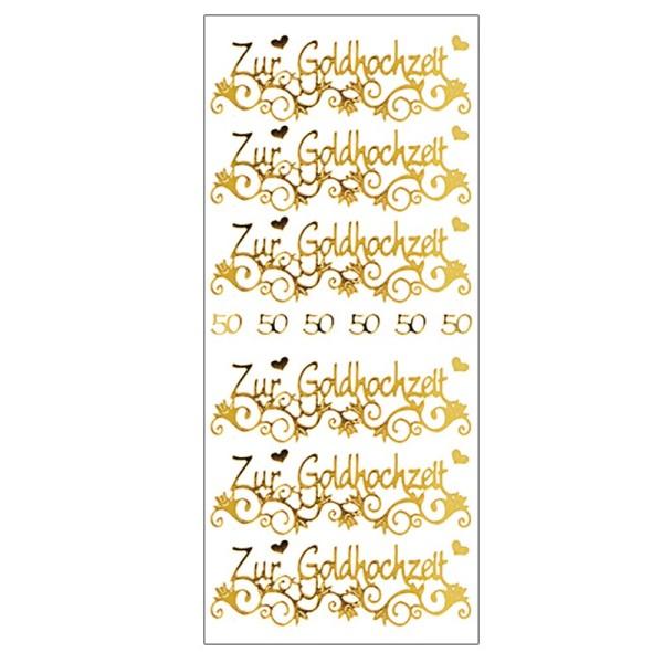 Sticker, Zur Goldhochzeit, Spiegelfolie, gold