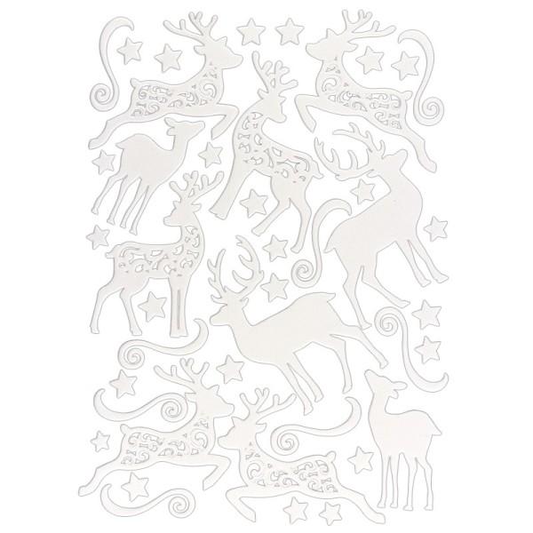 3-D Sticker, Deluxe Hirsche, verschiedene Größen, selbstklebend, weiß